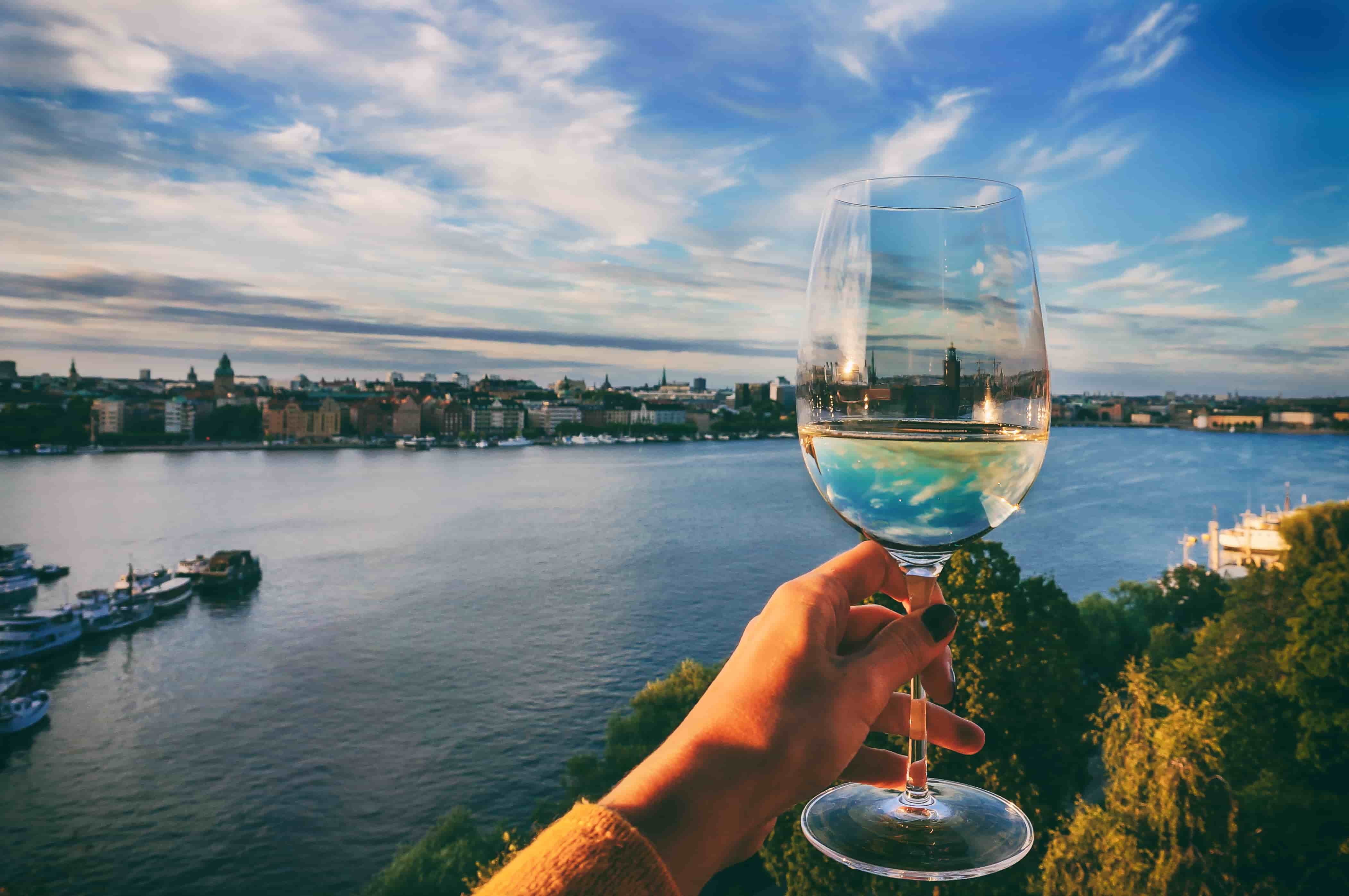 Stockholm and glass of wine